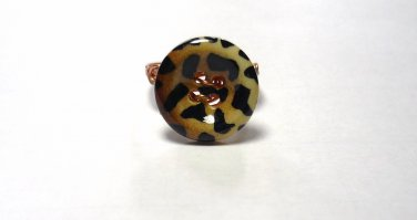 Copper Wire Wrapped Hand Crafted Button Ring Size 7 Animal Print