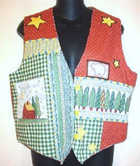 Whimsical Bears in Forest Scene Vest Ladies Sz Medium - Atten School Teachers