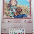Salesman Calendar Sample Vntg 1956 - Cardboard - 14 x 10.5 Little Girl and Puppy