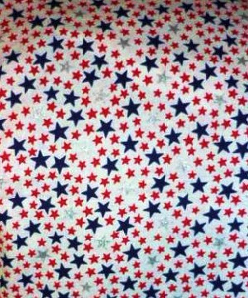 Red Blue w Shiny Silver Stars on White Fabric Material 82 x 45