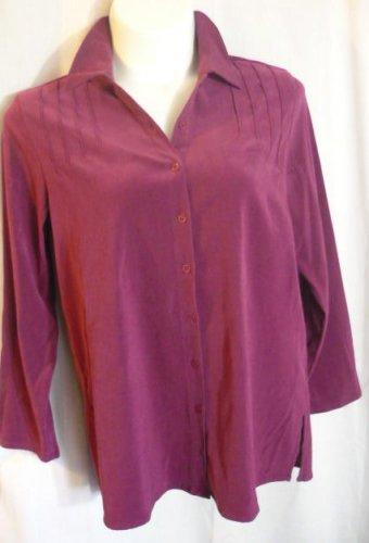 Denim and Co QVC Size Large Moleskin Top Chamois Suede L/S Button Down Shirt