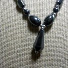 New: Hematite 18 inch Necklace with Tear~Drop Charm