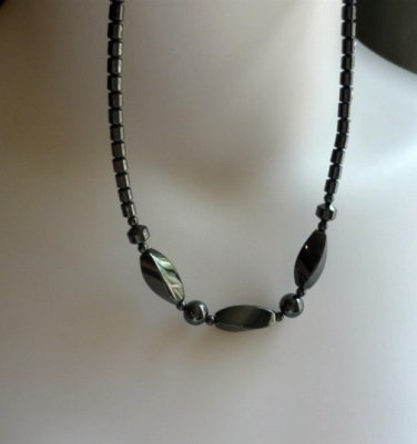 New: Hematite 18 inch Necklace with Diamond n Ball Stations Semiprecious Black