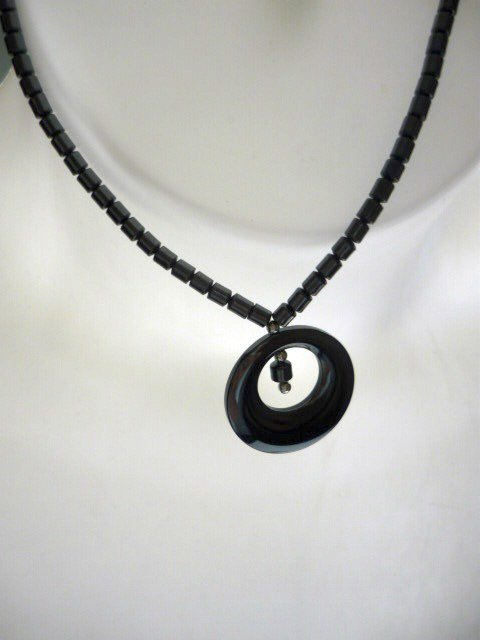Elegant 18 inch Hematite Necklace with Disk Pendant - Brand New -