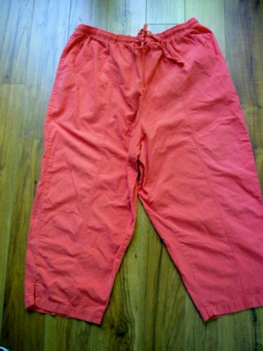 Bobbie Brooks Sz XL Orange Sherbet Capri Pants All Cotton Elastic Waist