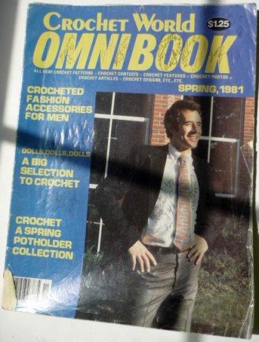 Crochet World OmniBook Magazine Access for Men, Dolls, Valentines Day Spring 1981