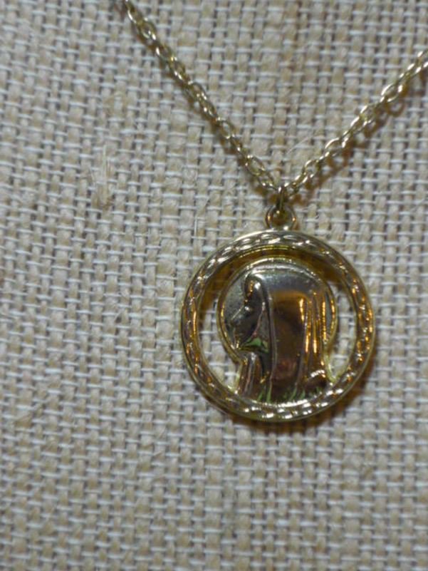 Catholic Gold Tone Metal Holy Mary Apparition Charm and Necklace - Vintage