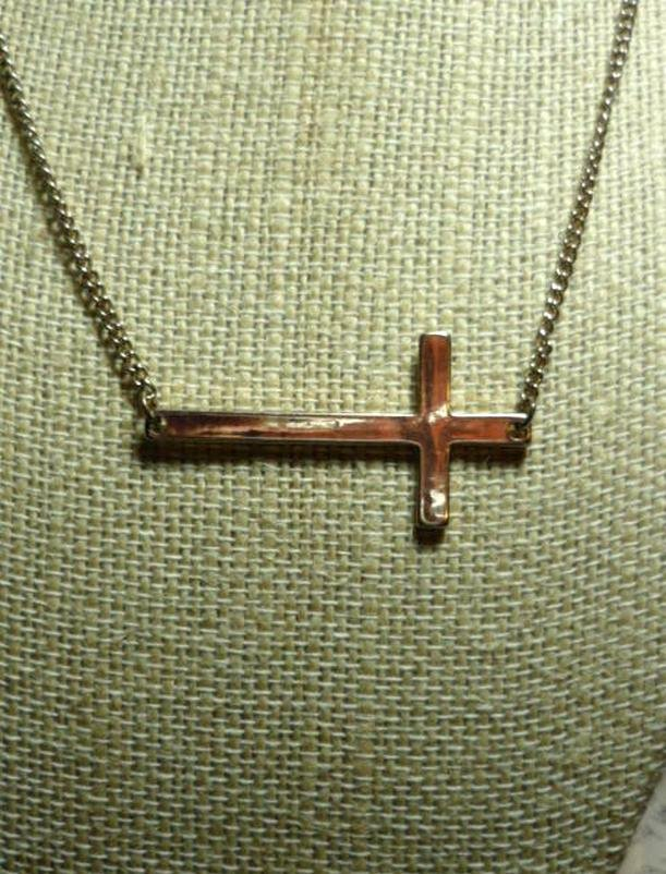 Sideways Cross Necklace Gold Tone by Aldo - Adjustable