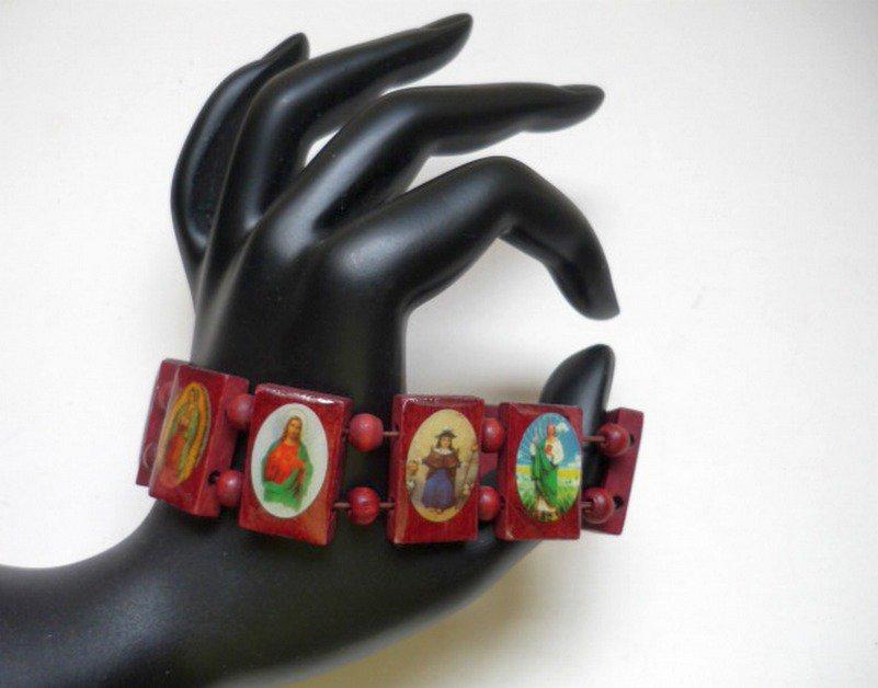 Crimson Wooden Religious Saint Bracelet Stretch NEW