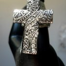 New Cross Rhinestone Ring Christian Stretch Ring Size 7 - 9