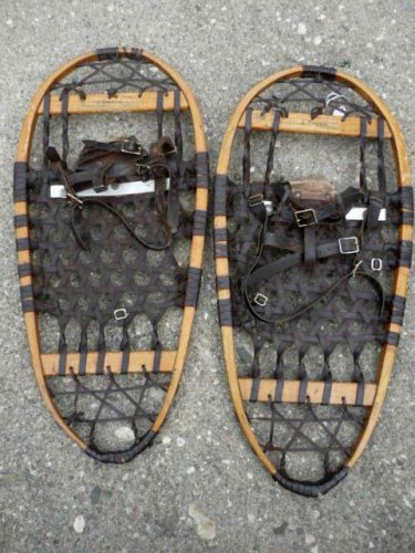 Vintage Wooden SnowShoes Ice Grips 13x28 Usable or Great Decor