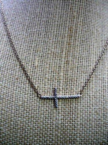 Sideways Cross Necklace Two Tone DBJ 925 SS Rhinestone