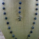 JQ Lapis Lazuli Bead Sterling Modern Catholic Rosary Cross Peace Heart Necklace