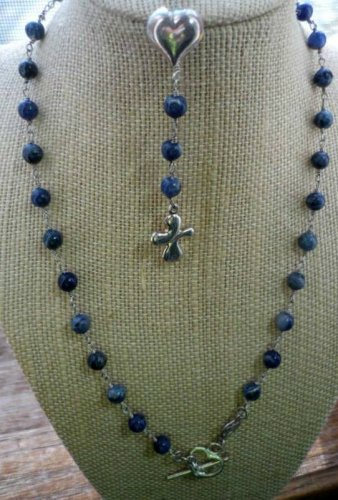 JQ Lapis Lazuli Bead Sterling Modern Catholic Rosary Cross Peace Heart Necklace