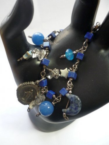 Lapis 925 Bracelet - O Mary Conceived Without Sin - Moon Stars