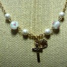 New Malco Sterling - Jesus Cross Mary Pendant Necklace Rose in Pearl