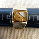 Mens 14 kgf Ring Sz 12 With Diamond and Tigers Eye