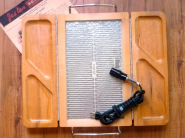 Vintage Jaxton Hot Server Food Warmer Glass Plate Folding Hot Buffet in Box J608
