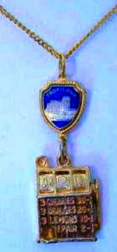 Tropicana Hotel and Slot Charm Necklace Gold Tone Souvenir Estate Find