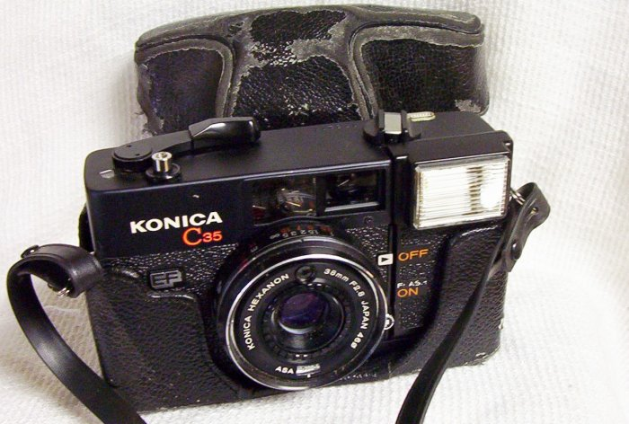 Konica C35  All Black 35mm Camera EF
