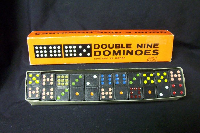 Double Nine Dominoes ~Vintage~All Hand Painted Numbers