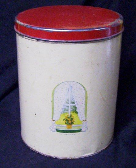 """Vintage 1945 Cannister 8"""" x 7"""" diameter"""