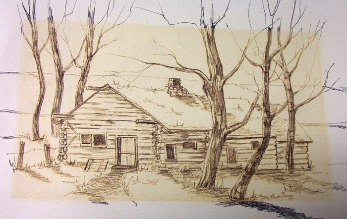 W.A. Lloyd Davies (1975) Log Home Charcoal/Wash (Original)