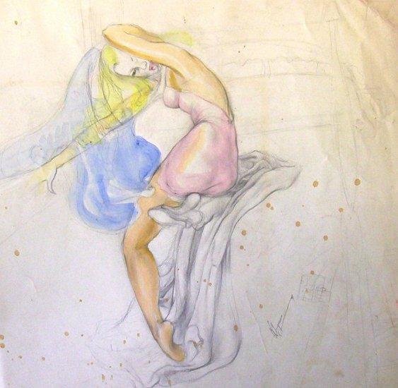 Flirting for the artist - Original Artwork by Ted Ingram