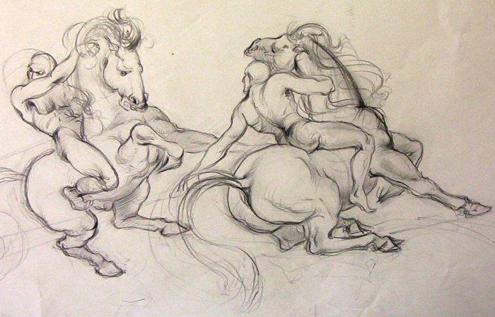 (Ted) A.E. Ingram original pencil sketch for National Museum Mural circa 1947 -'48