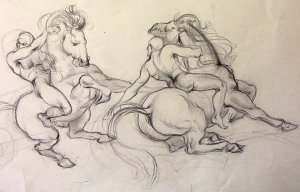 (Ted) A.E. Ingram original pencil sketch for National Museum Mural circa 1947 -'48