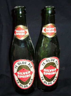 2- Vintage Silver Spring &quot;Ye Olde Ale&quot; 10% Proof Bottles