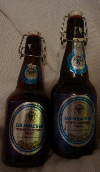 2 KULMBACHER SCHWEIZERHOFBRA�U BEER BOTTLES