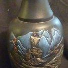 "9""  Black Ceramic Vase - Japanese or Chinese landscape"
