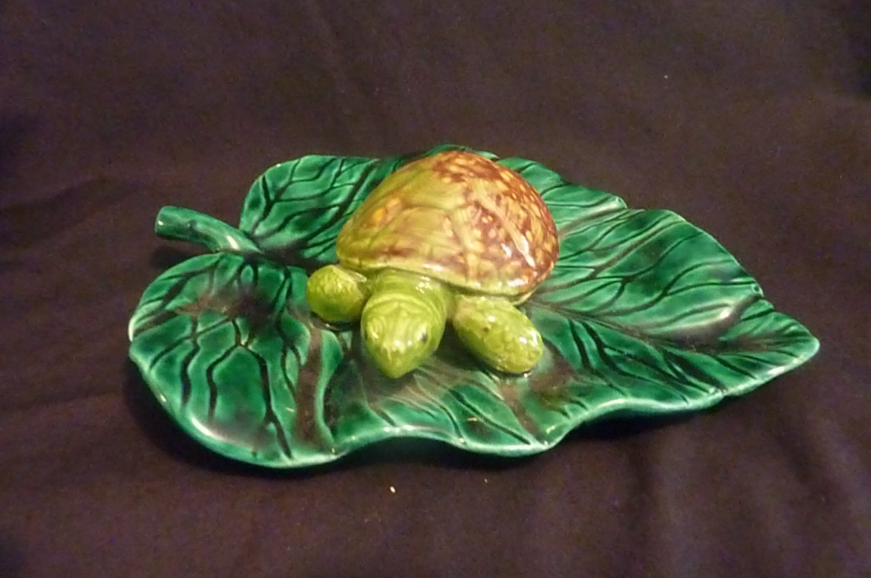 Hand Made for aquarium Ceramic Turtle on Lily Pad