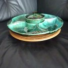 Complete Blue Mountain Pottery Lazy Susan Set with Condiment Bowl and Lid