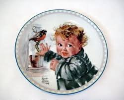 """Little Red Robins"" by Maud Tousey Fangel~Signed China Collector Plate"