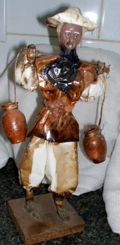 Mexican Paper Mache Sculpture Man with Water