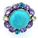 Round Turquoise with gem colored crystals Ring