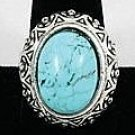 Oval Turquoise with silver beaded frame Ring