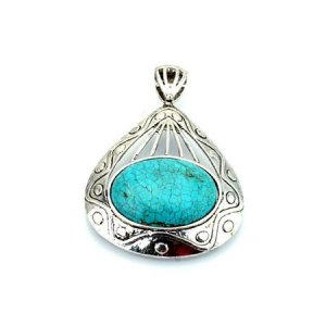 Oval turquoise and silver pendant
