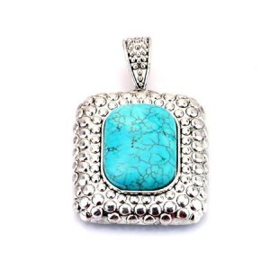 Rectangular turquoise and silver pendant