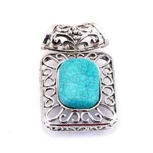 Rectangular openwork turquoise and silver pendant