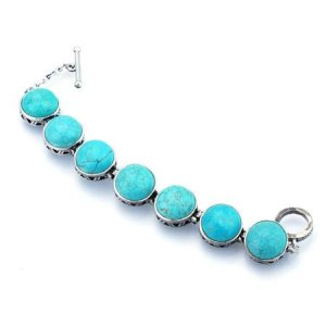Round link turquoise and silver bracelet