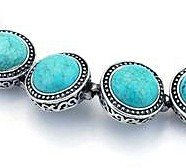 Millgrain link turquoise and silver bracelet
