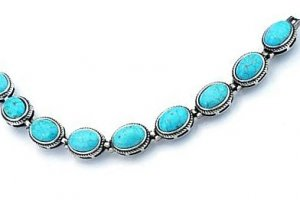 Small oval link turquoise and silver bracelet