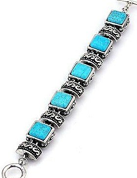 Small square link turquoise and silver bracelet