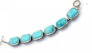 Large rectangular link turquoise and silver bracelet