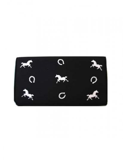 Horse Embroidered Long Wallet (Black)