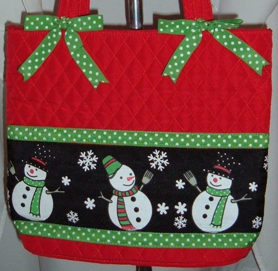 Red Quilted Snowman Purse Tote