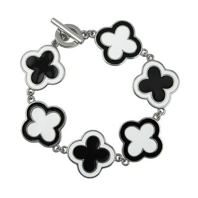 Black and White Enamel Toggle Bracelet Lead Free